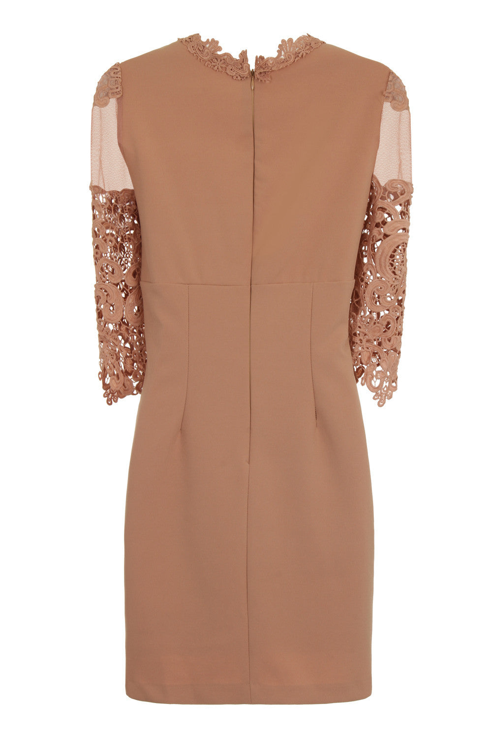 SHEER SHOULDER BODYCON DRESS - BEIGE - Darccy & Soma London