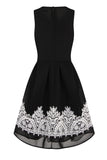 SKYLINE LACE TRIM DRESS - BLACK