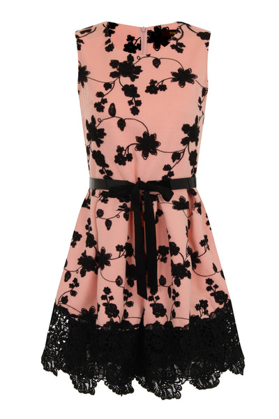 FLORAL EMBROIDERY DRESS - PINK/BEIGE