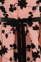 FLORAL EMBROIDERY DRESS - PINK/BEIGE - Darccy & Soma London