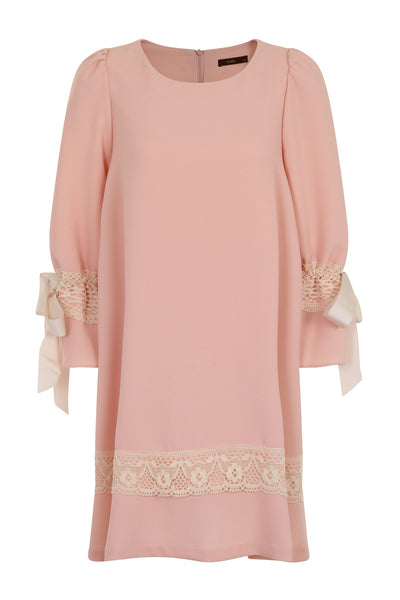 RIBBON SLEEVE DRESS - PINK