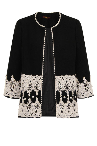 LUXY PEARL OPEN COAT - BLACK