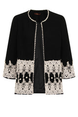 LUXY PEARL OPEN COAT - BLACK - Darccy & Soma London