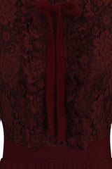 FRONT RUFFLE DRESS - WINE - Darccy & Soma London