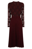FRONT RUFFLE DRESS - WINE
