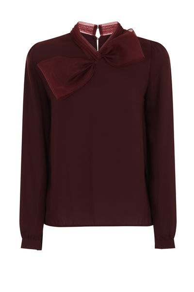JUMBO BOW BLOUSE - WINE