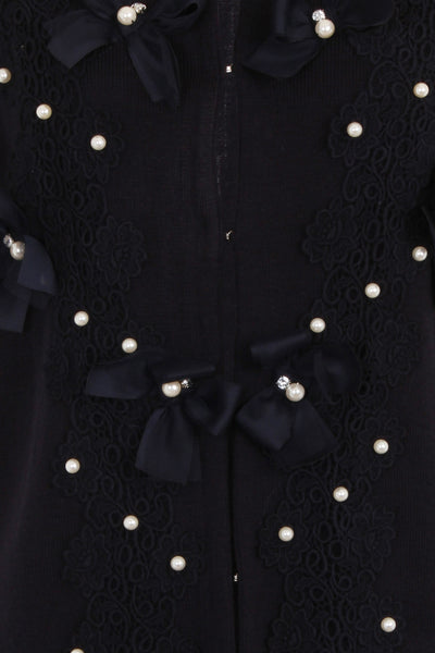 BUTTERFLY LONG CARDIGAN - BLACK