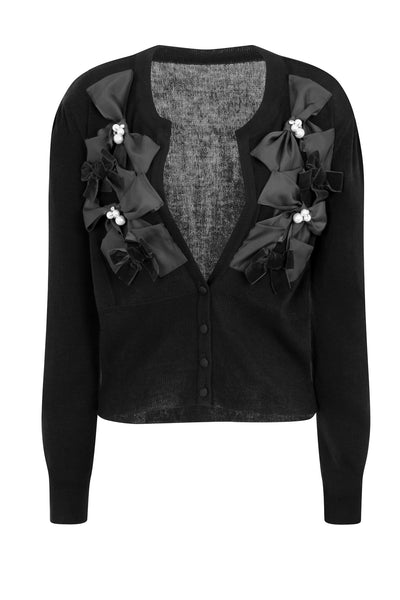 RIBBON BOW CARDIGAN - BLACK
