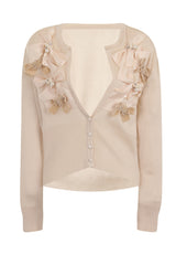 RIBBON BOW CARDIGAN - CREAM - Darccy & Soma London