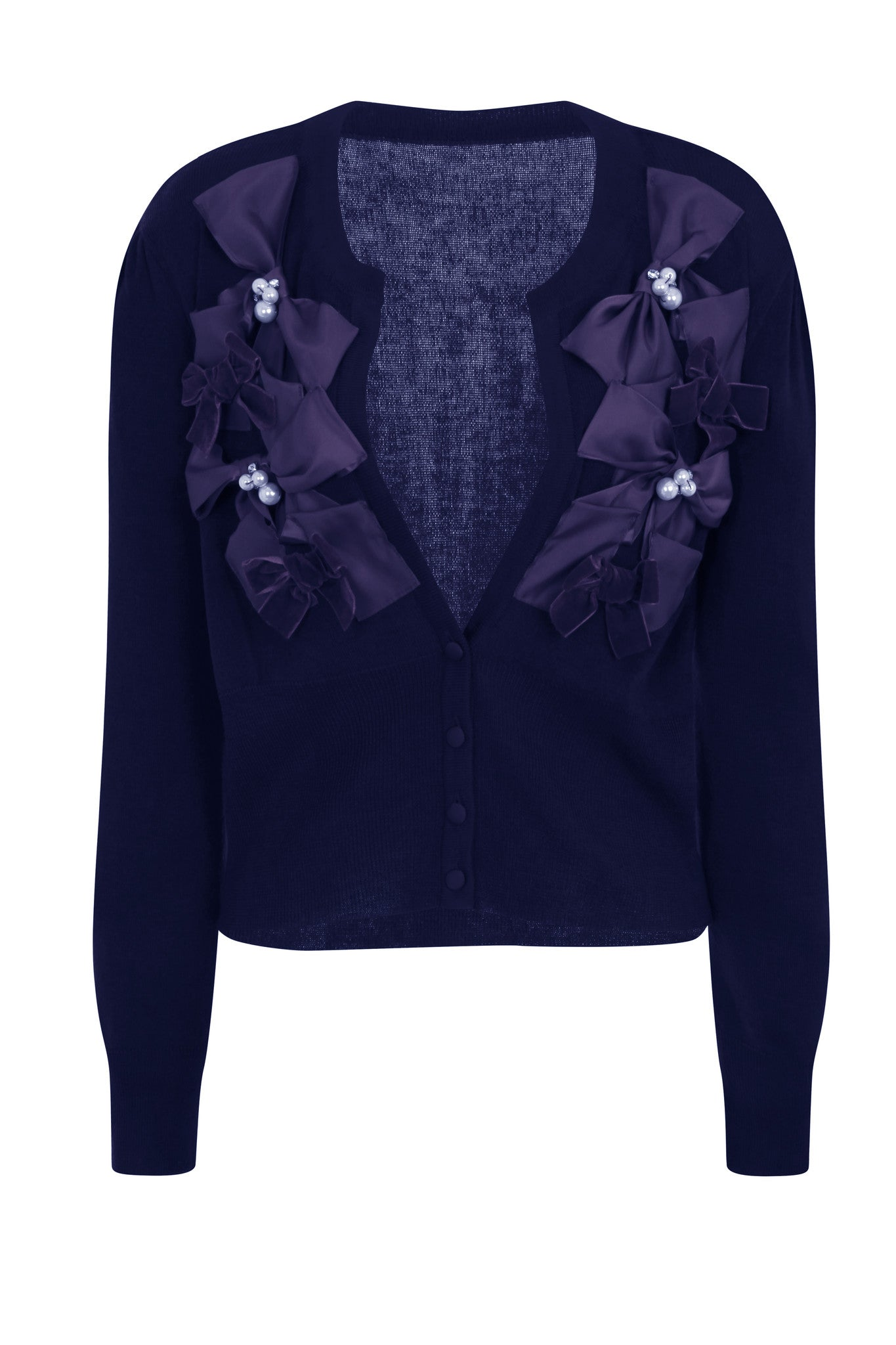RIBBON BOW CARDIGAN - NAVY - Darccy & Soma London