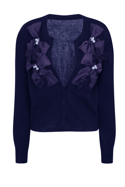 RIBBON BOW CARDIGAN - NAVY