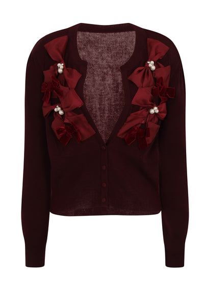 RIBBON BOW CARDIGAN - WINE