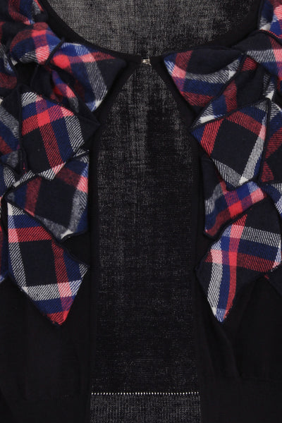 CHECKER CARDIGAN -NAVY