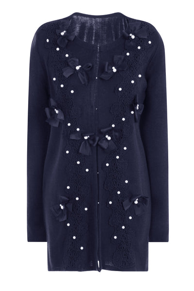 BUTTERFLY LONG CARDIGAN - NAVY