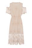 SHEER GOLD MIDI LACE DRESS - Darccy & Soma London