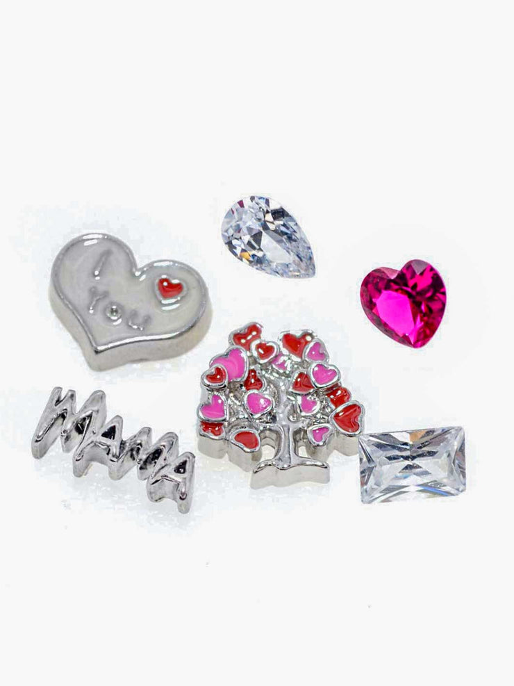 Momset bestehend aus Lovetree, Mama und I love you Herz Charm sowie dem Big Heart ruby, dem Pear clear und dem Rectangle Clear Crystal