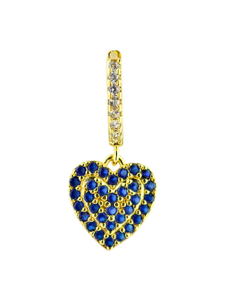 Ohrring Heart blue Crystals