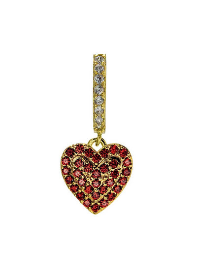 Ohrring Heart red crystal