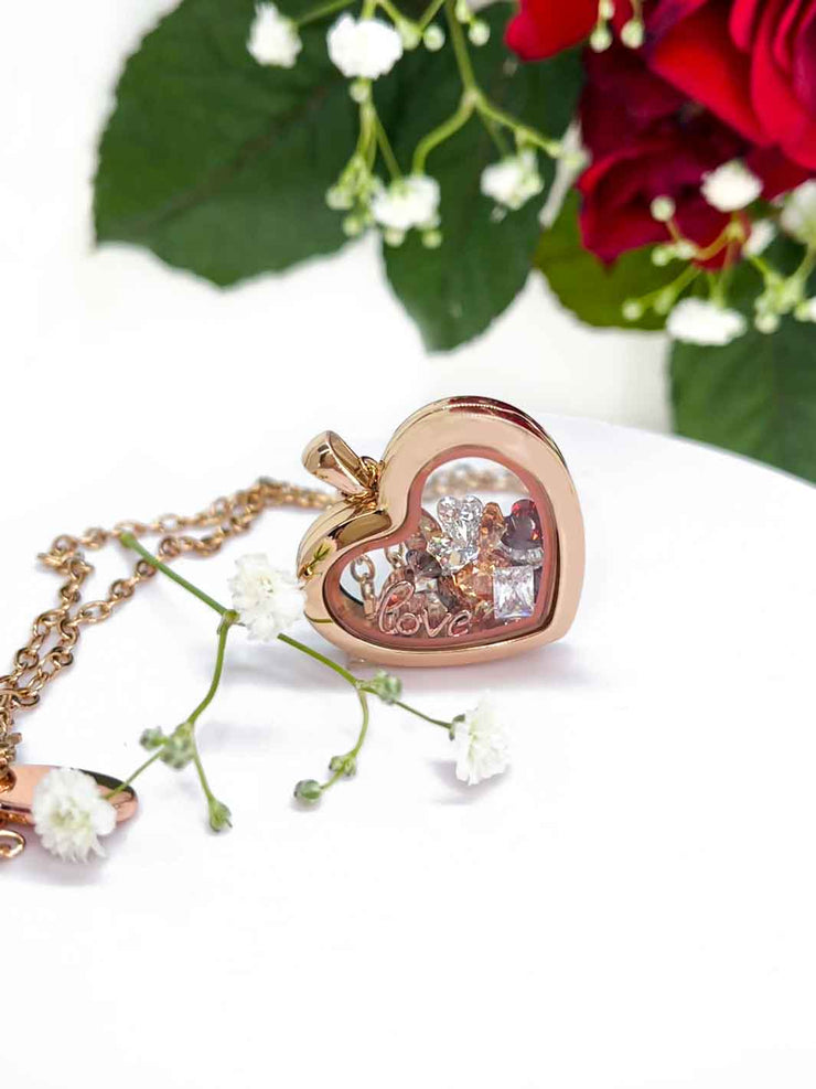 Crystal Love Set mit Charmwaechter Heart rosegold