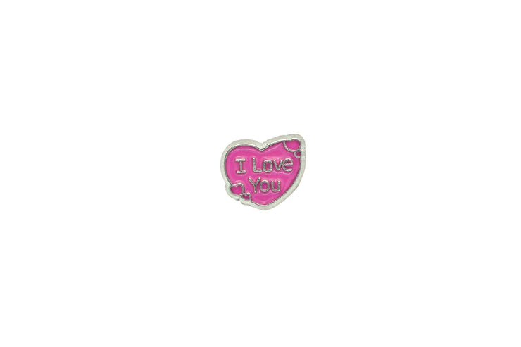 "Herz ""I love you"" Charm in pink"