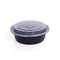 Hotpack | 32 oz BLACK BASE ROUND SHALLOW CONTAINER WITH CLEAR LID | 150 Pieces