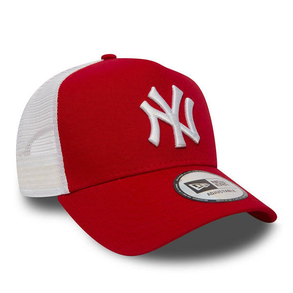 New Era Clean A Frame Trucker Cap - New York Yankees - Red -11588488
