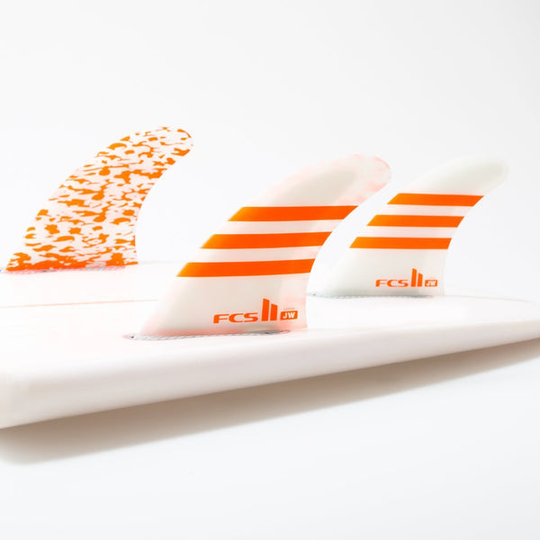 FCS II - Julian Wilson JW PC Thruster set Orange/White - FJWM-PC03-MD-TS-R - Size Medium