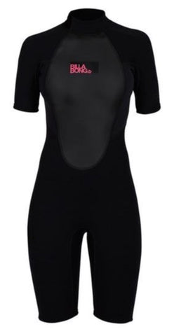 Billabong Women's Launch 2mm BZ Shorty Wetsuit- Black - S42G03