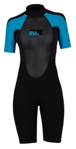 Billabong Women's Launch 2mm BZ Shorty Wetsuit- Turquoise - S42G03-TUR