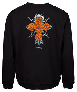 Santa Cruz - 2018 - Dressen Rose Cross - Crew Sweater - Black - SCA-CRW
