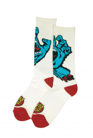 Santa Cruz - 2018 - Screaming Hand - Socks - White - SCA-SCK-0106