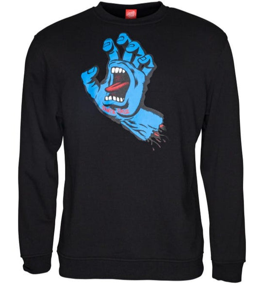 Santa Cruz Crew Sweater - Screaming Hand Black SCA-CRW-95