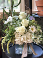 white garden inspired arrangement