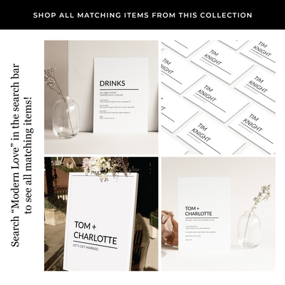 Modern Love Printed Invitations Package