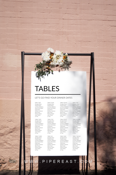 Digital Modern Love Seating Chart Sign