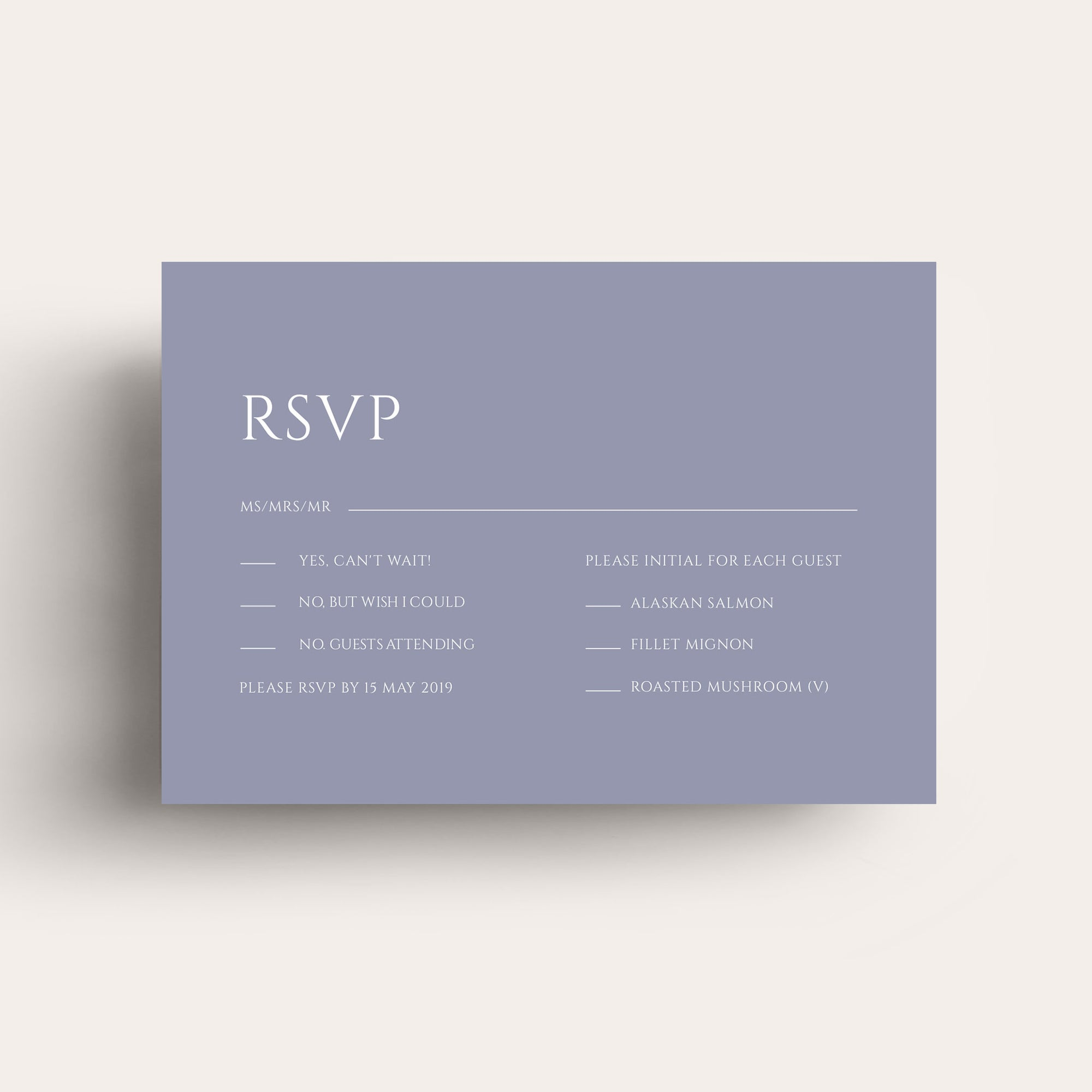 Lovestoned White Ink RSVP Card