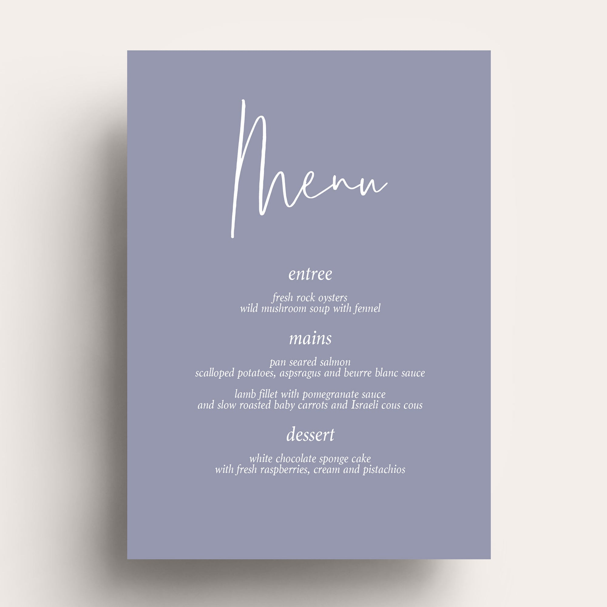 Forever Loved White Ink Menu