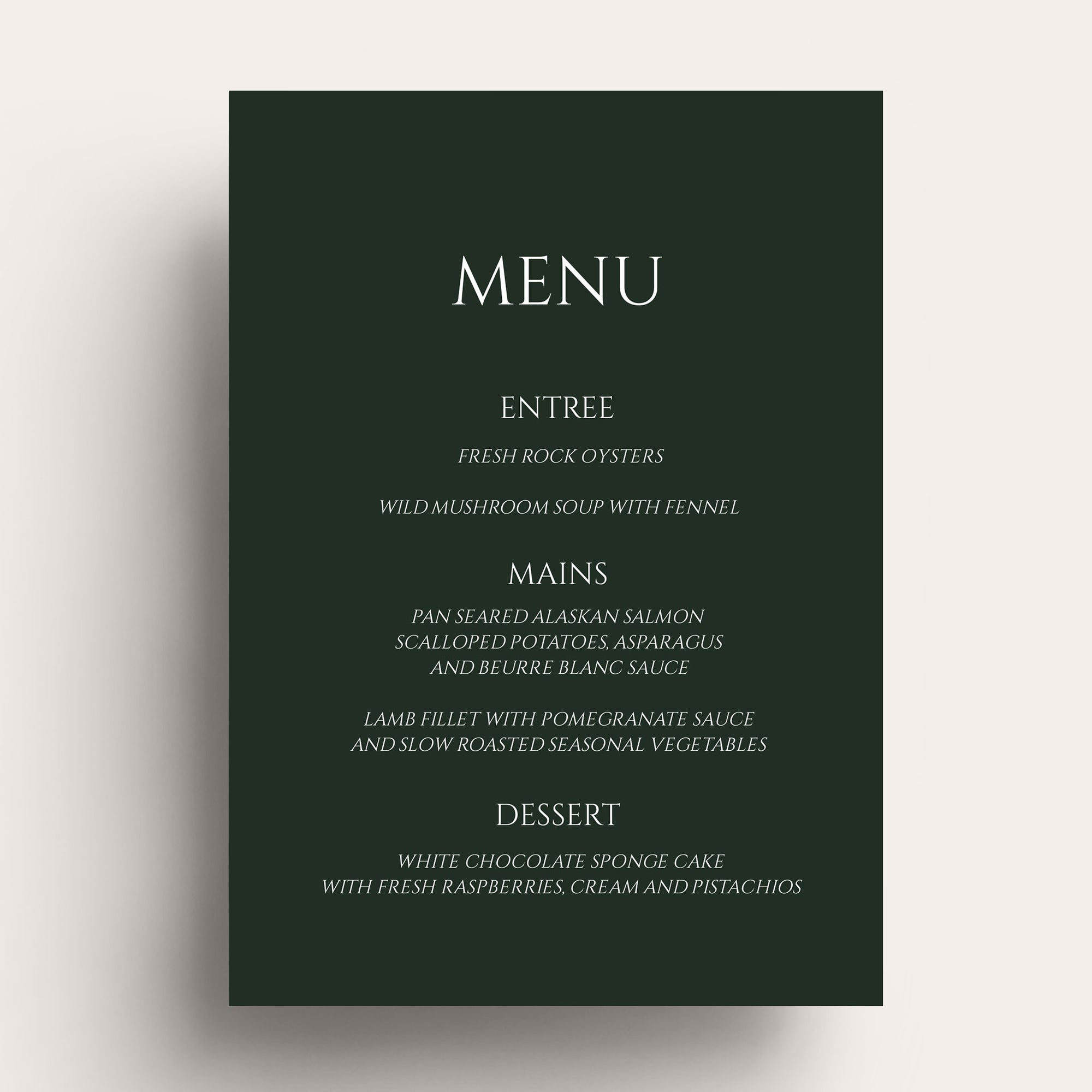 Lovestoned White Ink Menu