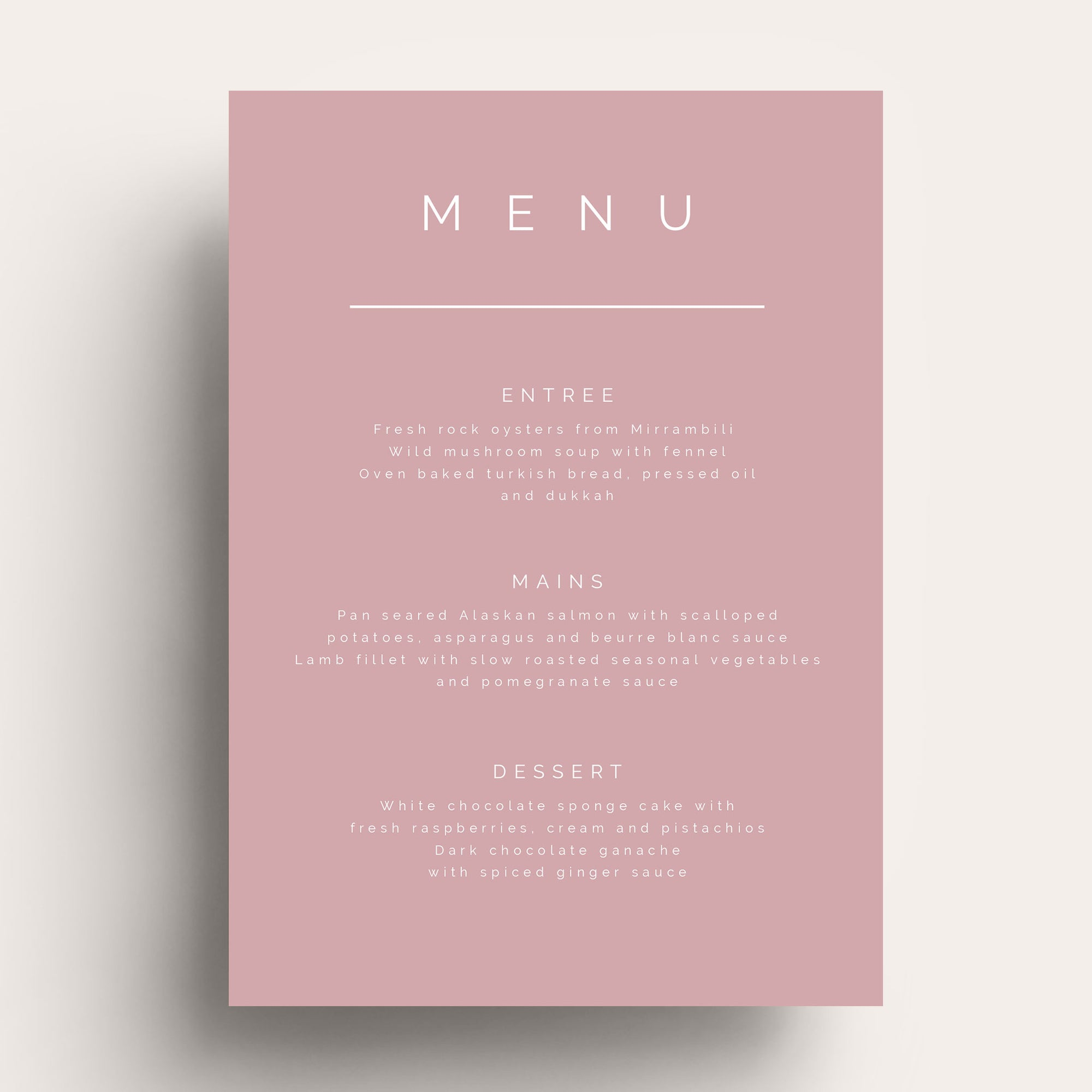 Simple Love White Ink Menu