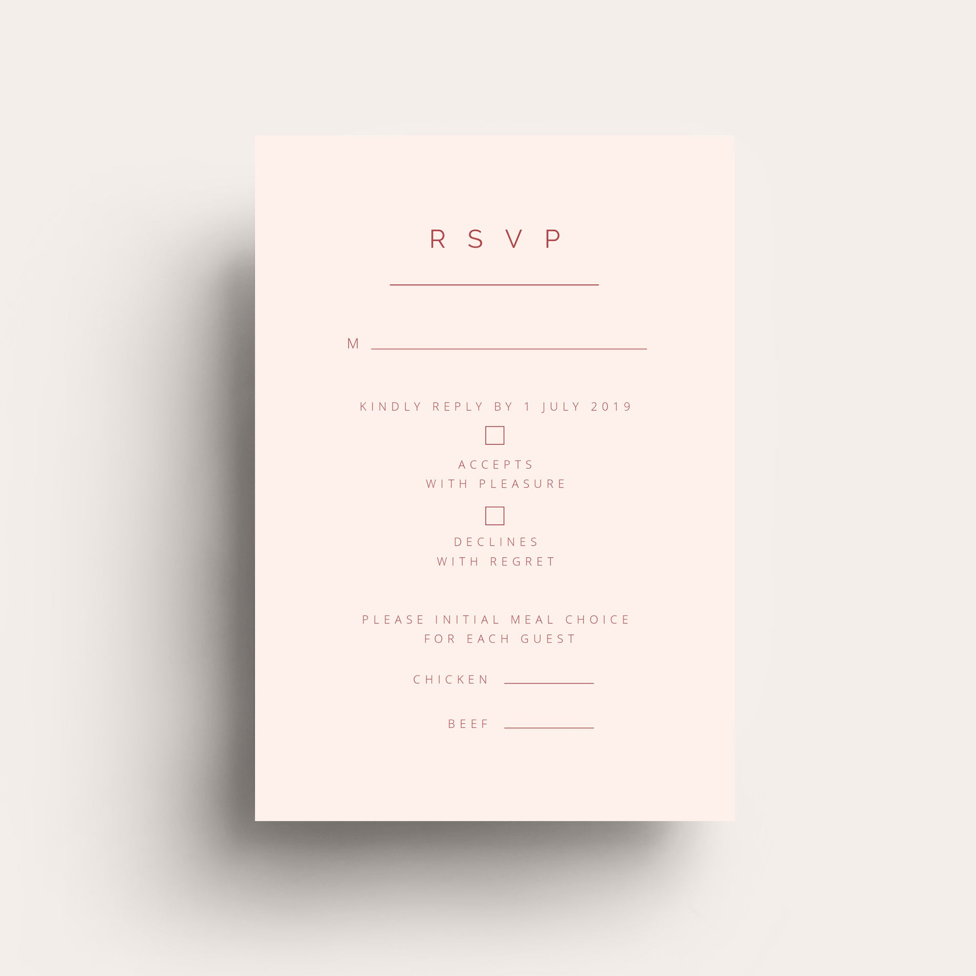 Simple Love RSVP Card
