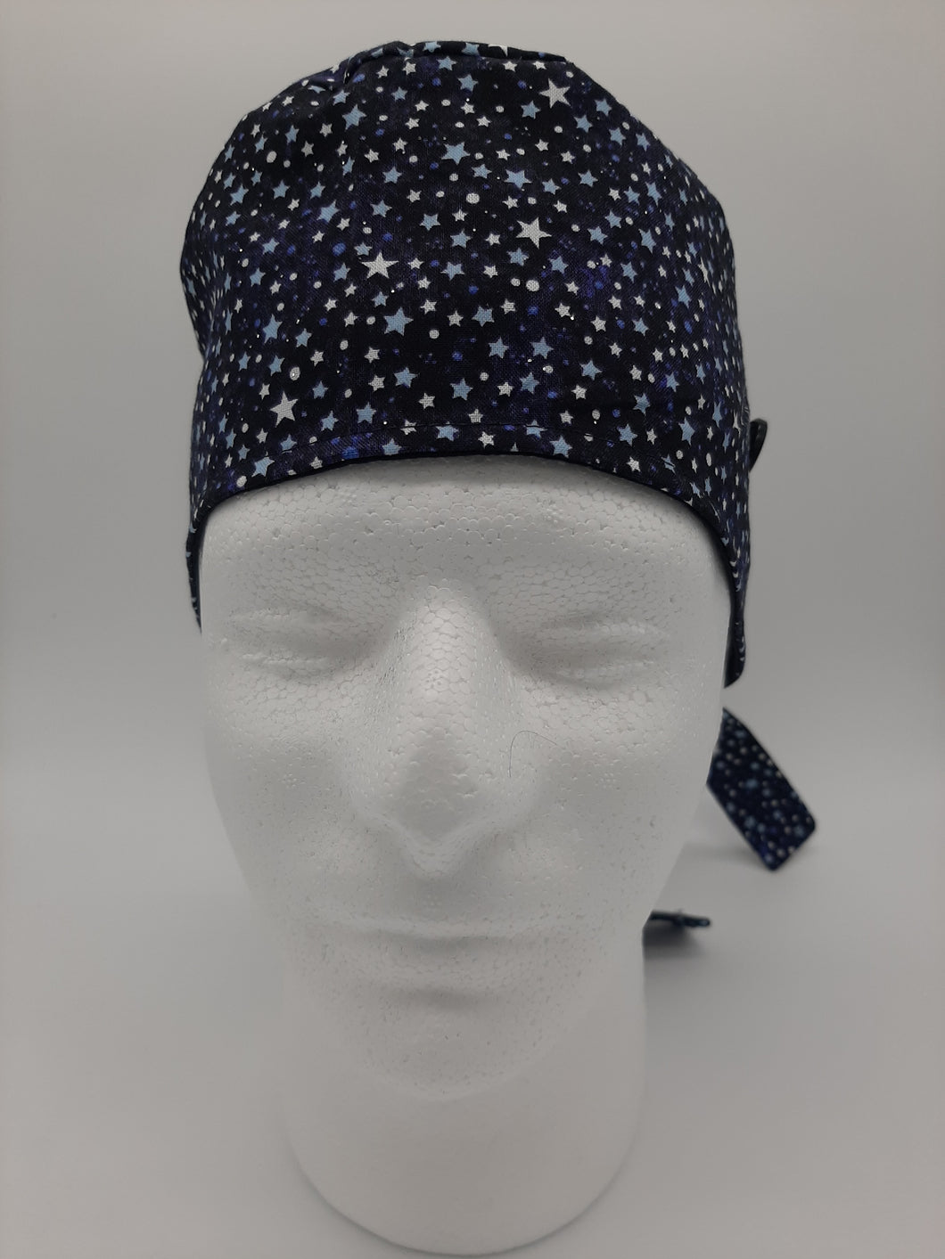 Stars + Glitter Print Scrub Cap Reversible to solid Black color with Red Maple Leaf Patch