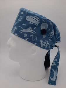 Animal Print Scrub Cap Reversible to solid Black color with Red Maple Leaf Patch
