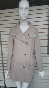 ¾ Length Stylish Pea Coat:  Available in 3 colors, Camel, Oatmeal, Black.   7 sizes for a tailored fit (XXS, XS, S, M, L, XL, XXL).