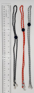 For those putting on and taking off their Face Masks frequently, consider these quality cord Lanyards to attached your Face Covers.  These Lanyards have metal hardware and large button on the adjustment toggle.  Available in 3 colors, Black, White + Red.  Lanyards are 30 inches (76cm) long.   Attach Lanyard to the small loop after ear loop adjuster or attached both Lanyard and silicone ear saver together as shown in photo.