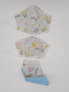 Print one side, solid color other side, reversible for versatility. Fashionable Face Covers that are functional, comfortable + Beautiful. If you have to wear a mask, wear one you LOVE! Designed + Made in Canada. Nose wire, adjustable ear loops, two layers of 100% cotton for comfort with integrate filter pocket between the two layer cotton layers.