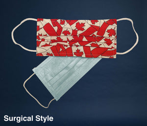 Non-Medical Reusable Fabric Face Mask Canadian Flag Filter pocket holding Surgical mask as filter