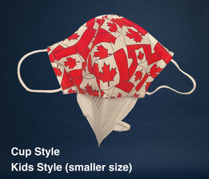 Non-Medical Fabric Face Mask with Canadian Flag Filter pocket holding N95 Mask as filter