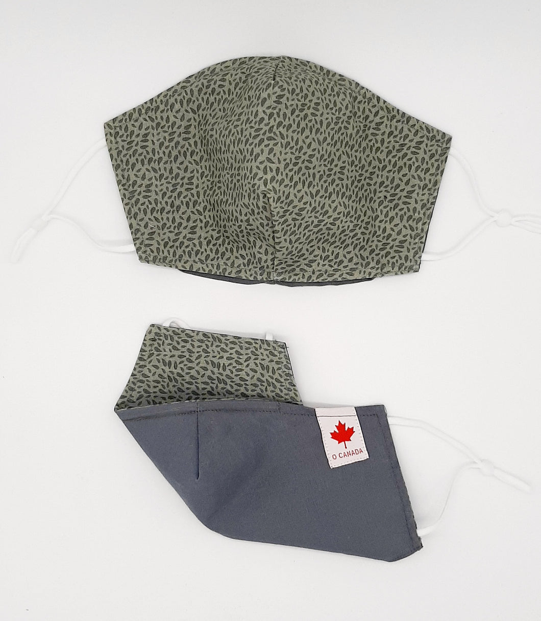 Earth Fall Collection.   Fall Print + Colors one side, solid light Grey color other side.  Reversible for versatility of one mask, two looks.  Fashionable Face Covers that are functional, comfortable + Beautiful. If you have to wear a mask, wear one you LOVE!  Designed + Made in Canada.  Nose wire, adjustable ear loops, two layers of 100% cotton for comfort with integrate filter pocket between the two layer cotton layers.