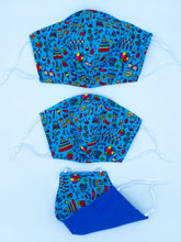 Load image into Gallery viewer, Royal Party Print Mask Reversible to Blue Color