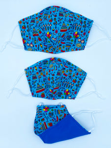 Royal Party Print Mask Reversible to Blue Color
